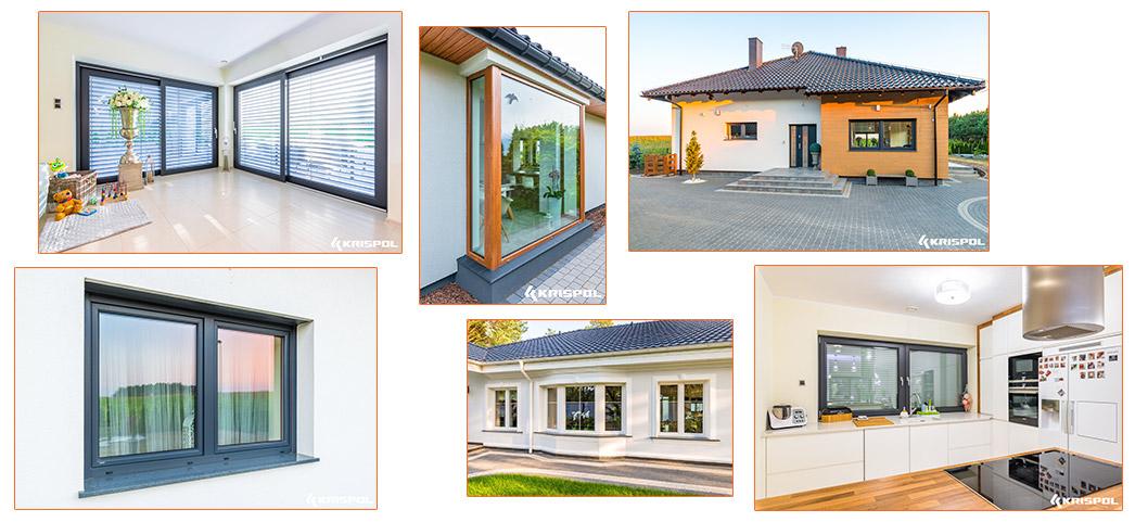 Okna Krispol w nowoczesnych domach, okna w salonie, w kuchni, duże okna